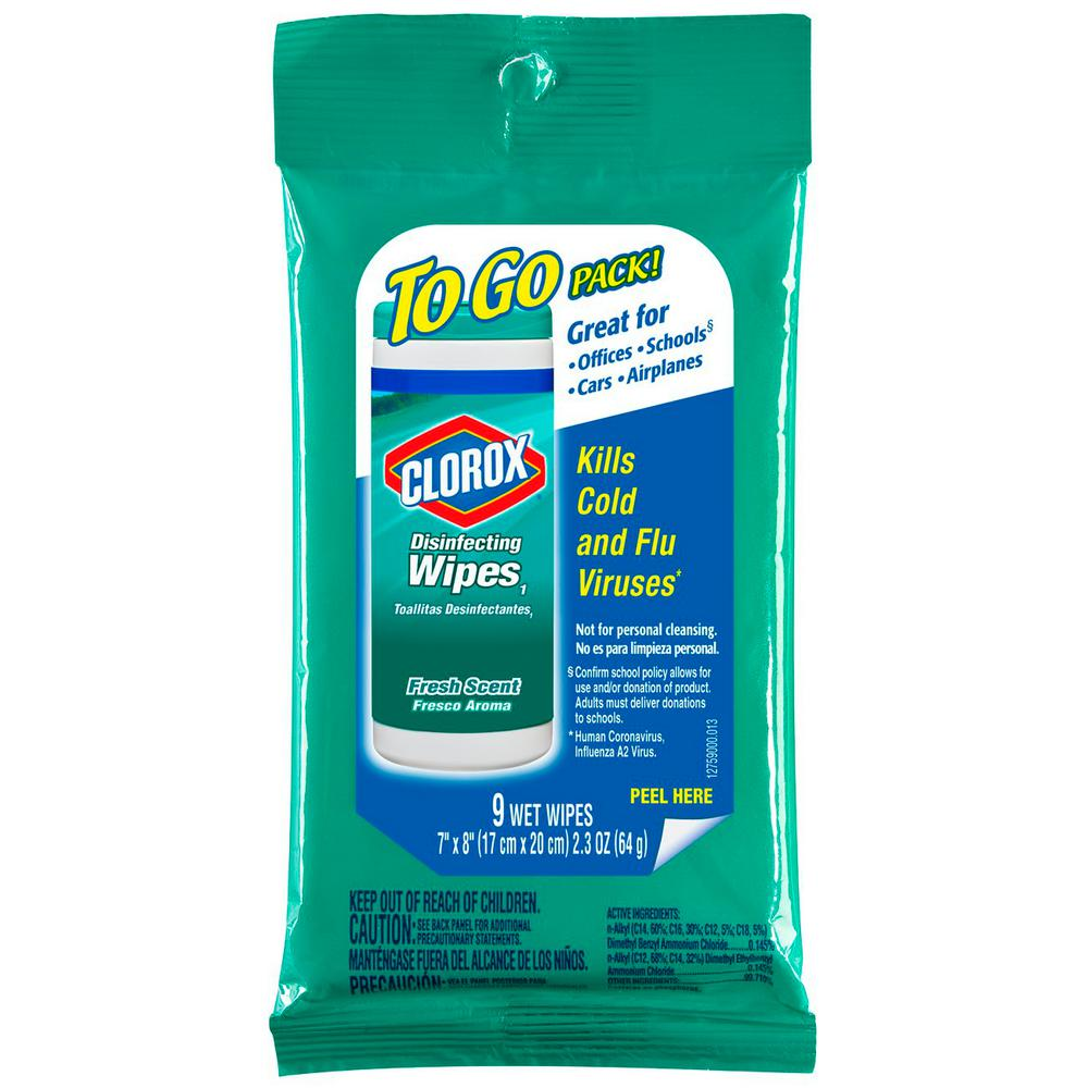 clorox disinfecting wipes fresh scent 9 wipes 2.3 oz